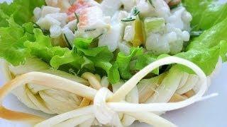 Крабовий салат - как украсить салат, оформить и сервировать на праздничный стол