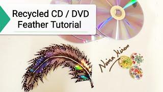 2019 latest CD Craft Ideas - Waste CD/DVD Feather making  #wallhangingcraftideas #bestoutofwaste