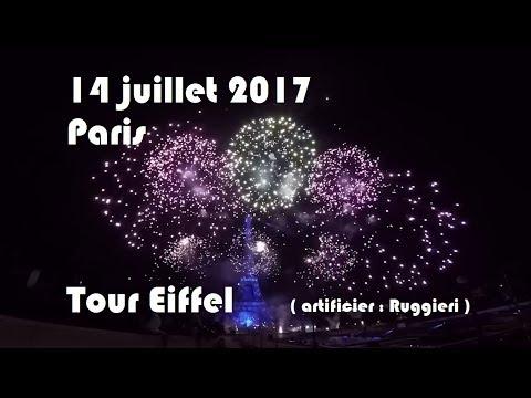 """Feu d'artifice Tour Eiffel 14 juillet 2017, tiré par """"Ruggieri"""""""