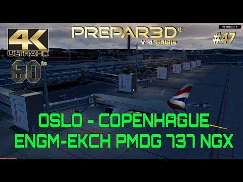 🔴 Oslo Copenhague British Airways B 737 800 P3D V4 4K 60fps