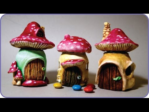 Diy miniature mushroom fairy house jars youtube How to make a fairy door out of clay