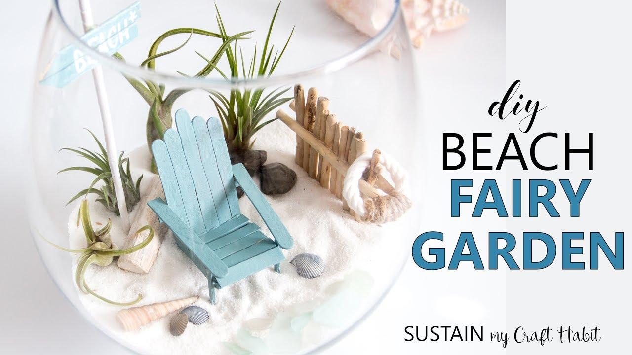 DIY Beach Themed Air Plant Terrarium // Easy Coastal Fairy Garden