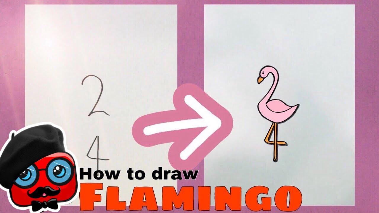 """2"" and ""4"" typing flamingo drawing | ""2"" ve ""4"" yazarak flamingo çizmek | kolay resimler"