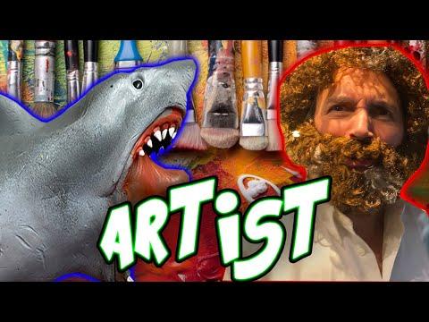 SHARK PUPPET THE ARTIST ft. Bob Ross!!!!!