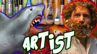 SHARK PUPPET THE ARTIST ft. Bob Ross!!!!!