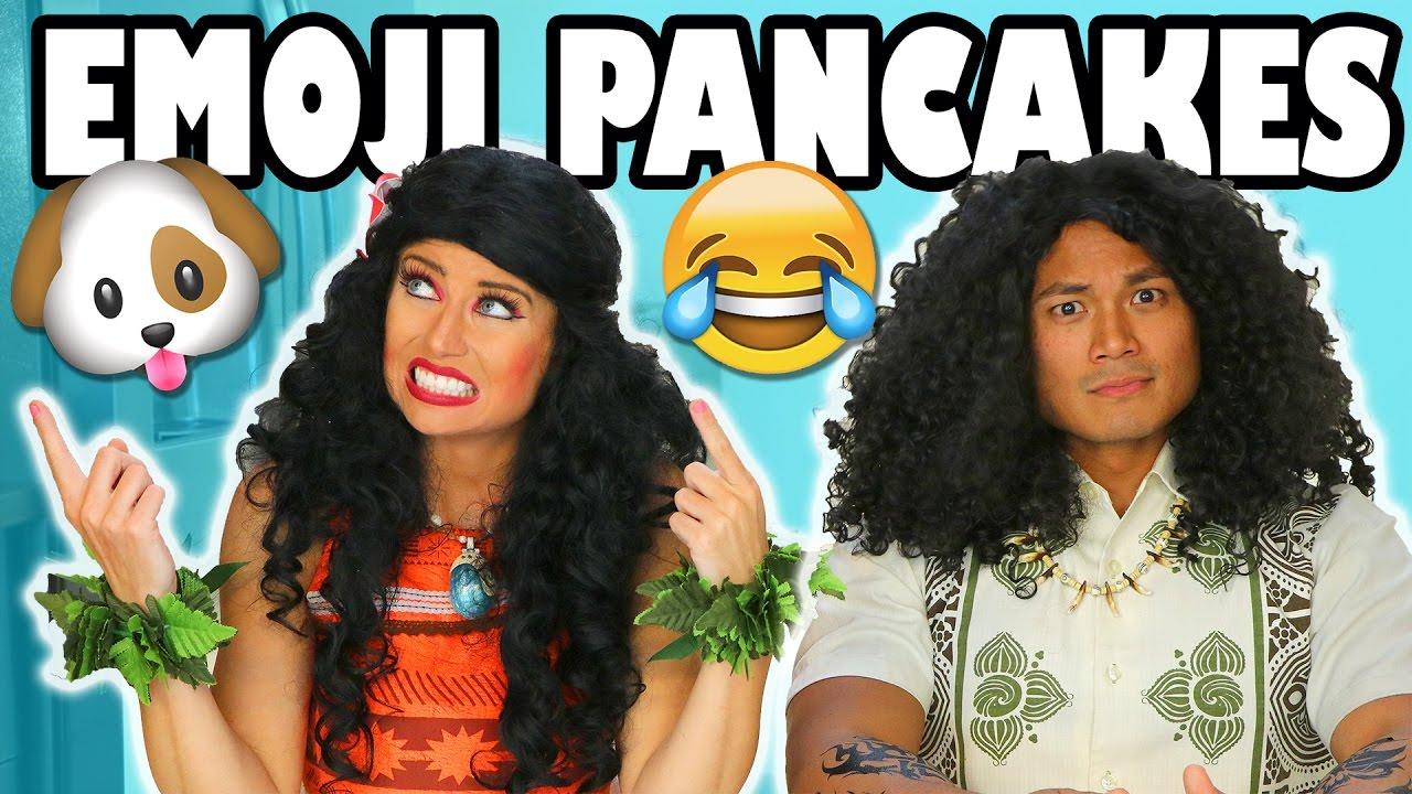 Moana vs Maui Emoji Pancake Art
