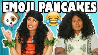 Moana vs Maui Emoji Pancake Art Challenge for Kids. 😺 Totally TV