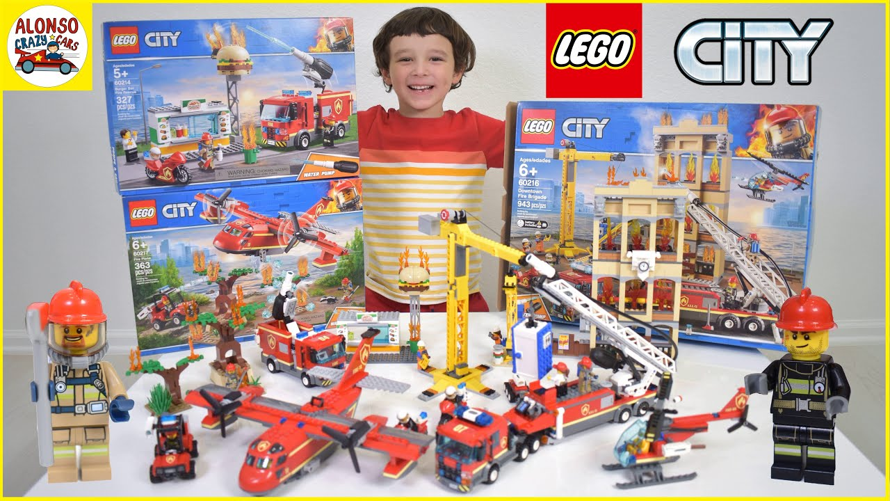 Lego City Fire Fighter And Firetruck New Sets 2020 Downtown Fire Brigade Burger Bar Fire Rescue Fire Youtube