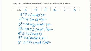 Primitive Roots and Tables of Indices