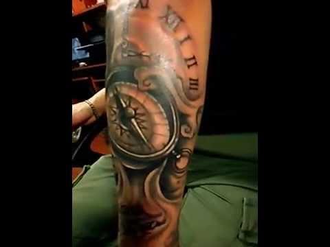 Tatuajes En El Brazo Sombras tatuaje brújula sombras .tegua tattoo - youtube