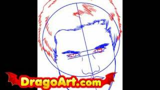 How to draw Taylor Lautner, step by step