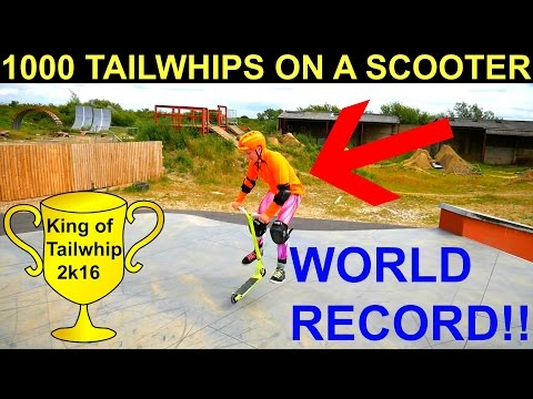 WORLD RECORD 2016 !!! 1000 TAILWHIPS ON A SCOOTER CHALLENGE !!!