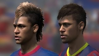 FIFA 14 vs FIFA 13 Head to Head Faces (3 angles view) | Barcelona | HD 1080p
