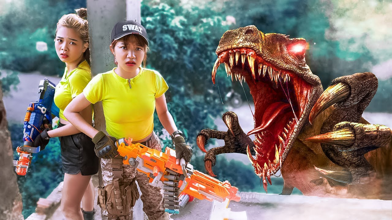 MS TRANBI Vs LILY FIGHT DINOSAURS NERF GUNS | Funny Battle With The Criminal Group TL Nerf War