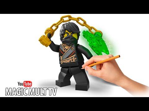 Как Нарисовать Коула Черный Ниндзя  НИНДЗЯГО How To Draw And Paint Cole Lego NinjaGo