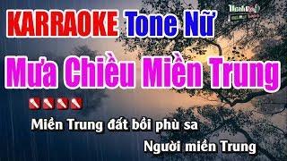 Mưa Chiều Miền Trung Karaoke   Tone Nữ - Nhạc Sống Thanh Ngân