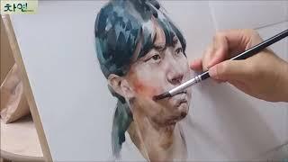 Watercolor Portrait Painting Demonstration(4X video) 인체수채화, 인물화, 얼굴그리기기