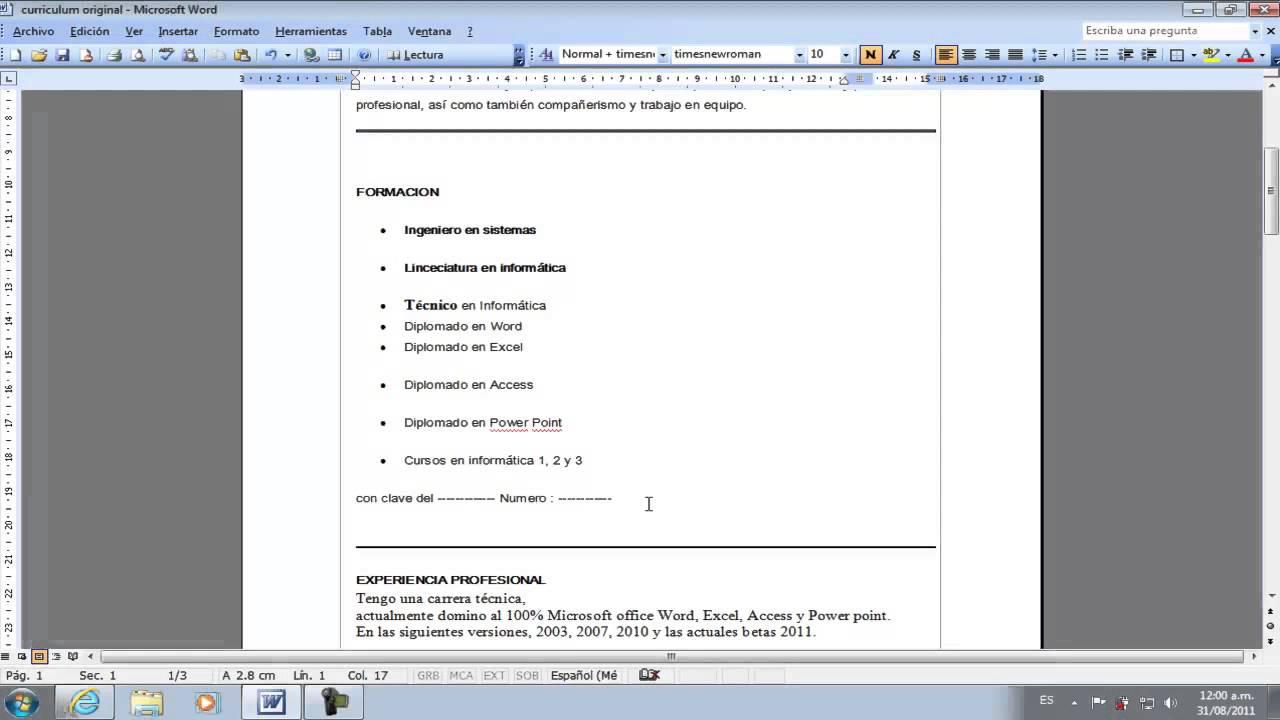 Increíble Hacer Un Currículum En Microsoft Word 2007 Motivo ...