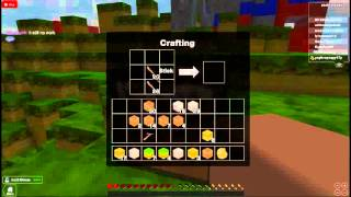 Crafting a Wooden Pickaxe in Roblox Survival. (Or Minecraft
