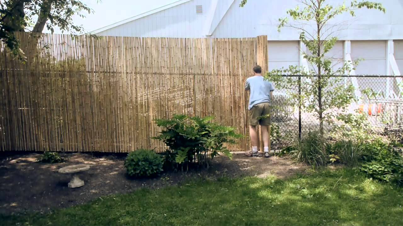 Installing a bamboo friendly fence on a chain link fence youtube baanklon Choice Image