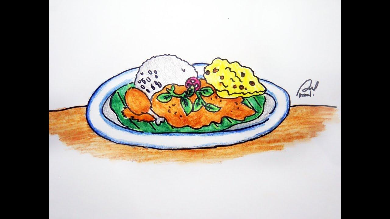 Cara Cepat Dan Mudah Menggambar Makanan Indonesia Nasi Pecel Youtube