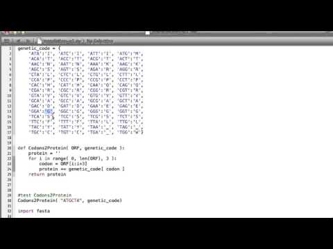 Translation from DNA to protein, Python