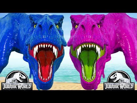 Tyrannosaurus Rex vs Stegoceratops, Stegosaurus - Jurassic World Evolution Mods Dinosaurs Fighting |