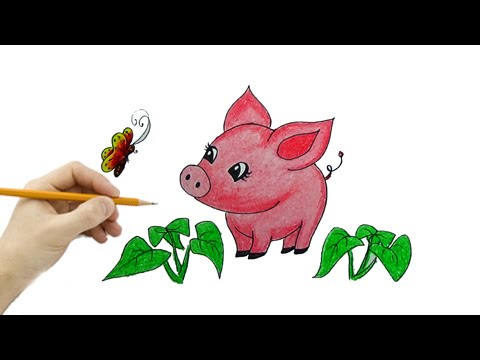 Vẽ Tranh Con Lợn (Chú Heo Con) - How To Draw The Pig