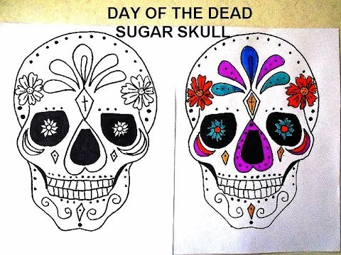 DAY OF THE DEAD SUGAR SKULLS free download coloring page DIY