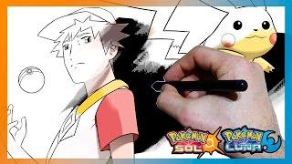 Cómo dibujar a Rojo de Pokémon Sol/Luna - How to draw Red from Pokemon Sun/Moon   TUTORIAL
