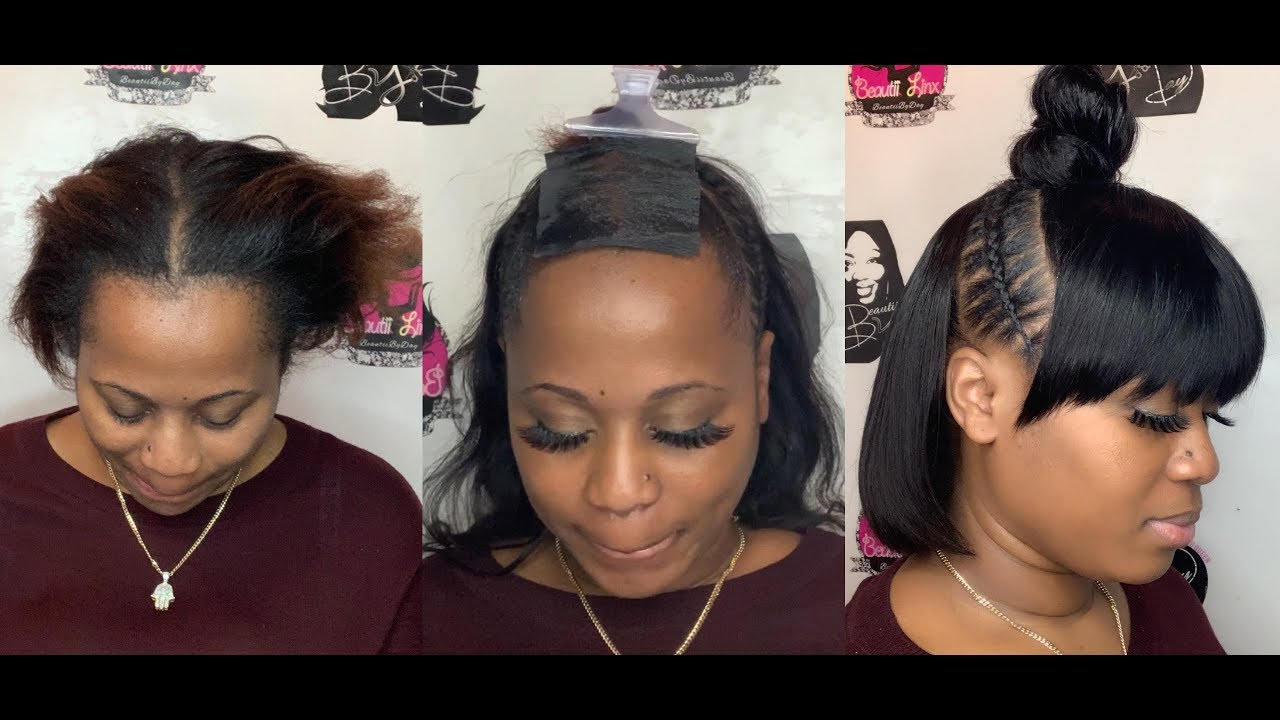 Bob + Stitch Braids + Bun + Bangs All In One