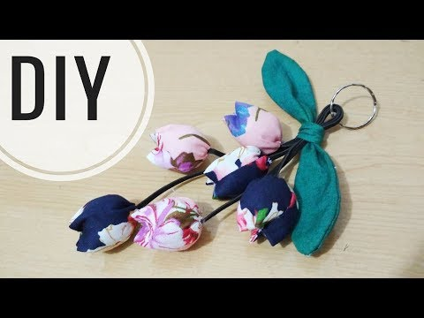 IDE KREATIF DIY - Gantungan Kunci Tulip Dari Kain Perca Katun | Tutorial Keychain | Recycle