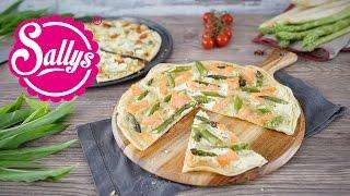 Grüner & weißer Spargel Flammkuchen / schnell, einfach, lecker