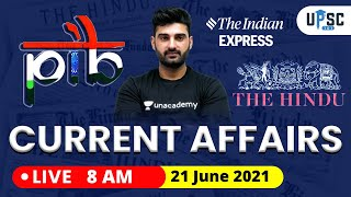 Daily Current Affairs in Hindi by Sumit Rathi Sir   21 June 2021 The Hindu PIB for IAS