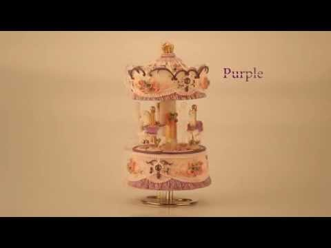 Laxury Windup 3-horse Carousel Music Box Creative Artware/Gift Melody Castle in the Sky