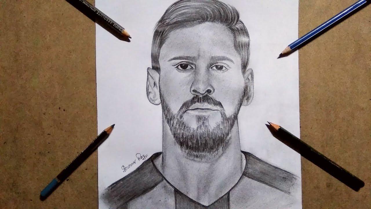 Drawing lionel messi tricks pencil sketch