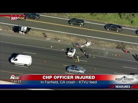FOUR SENT TO HOSPITAL: Following Fairfield, CA crash involving CHP officer  (FNN)