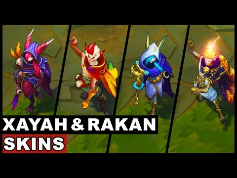 All Xayah and Rakan Skins Final Update New Champions 2017 (League of Legends)