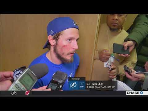 J.T. Miller -- Tampa Bay Lightning at New Jersey Devils Game 4 04/18/2018