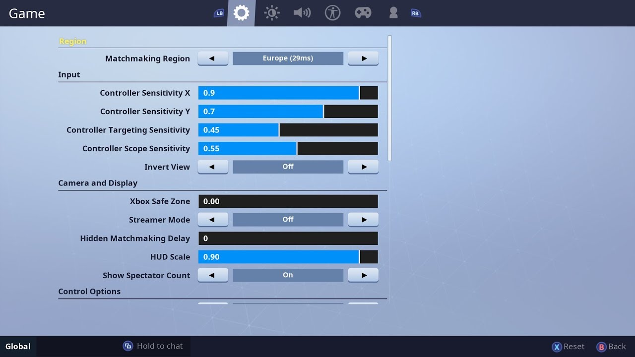 best fortnite console settings xbox ps4 - how to scope in fortnite xbox