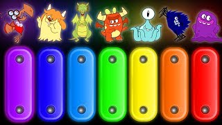 RAINBOW MONSTERS FOR KIDS | Spooky Xylophone Games by Annie and Ben