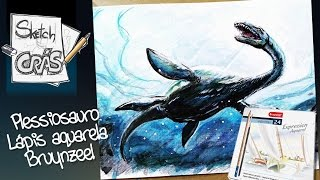Plessiossauro com lápis aquarela SPEED DRAWING - Sketch Crás