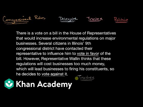 Representatives as delegates, trustees, and politicos | US government and civics | Khan Academy