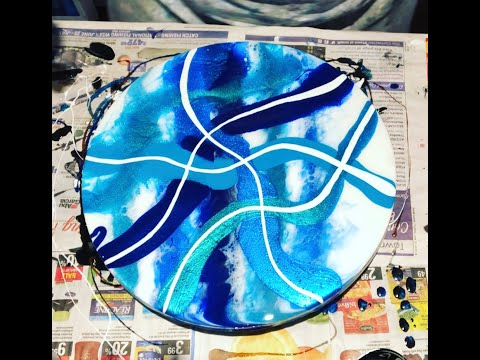 #96 - Working with sparkly blues!  Wood Round ~ Resin Art, Fluid Art