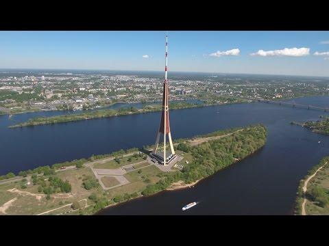 "Latvia "" Riga TV Tower "" Sunny Day in May 2017 Ultra HD or 4k"
