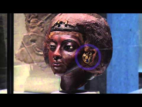 Portrait head of Queen Tiye with a crown of two feathers