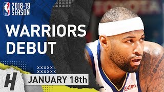 DeMarcus Cousins Warriors DEBUT Full Highlights vs Clippers 2019.01.18 - 14 Pts, 3 Ast, 6 Rebounds!