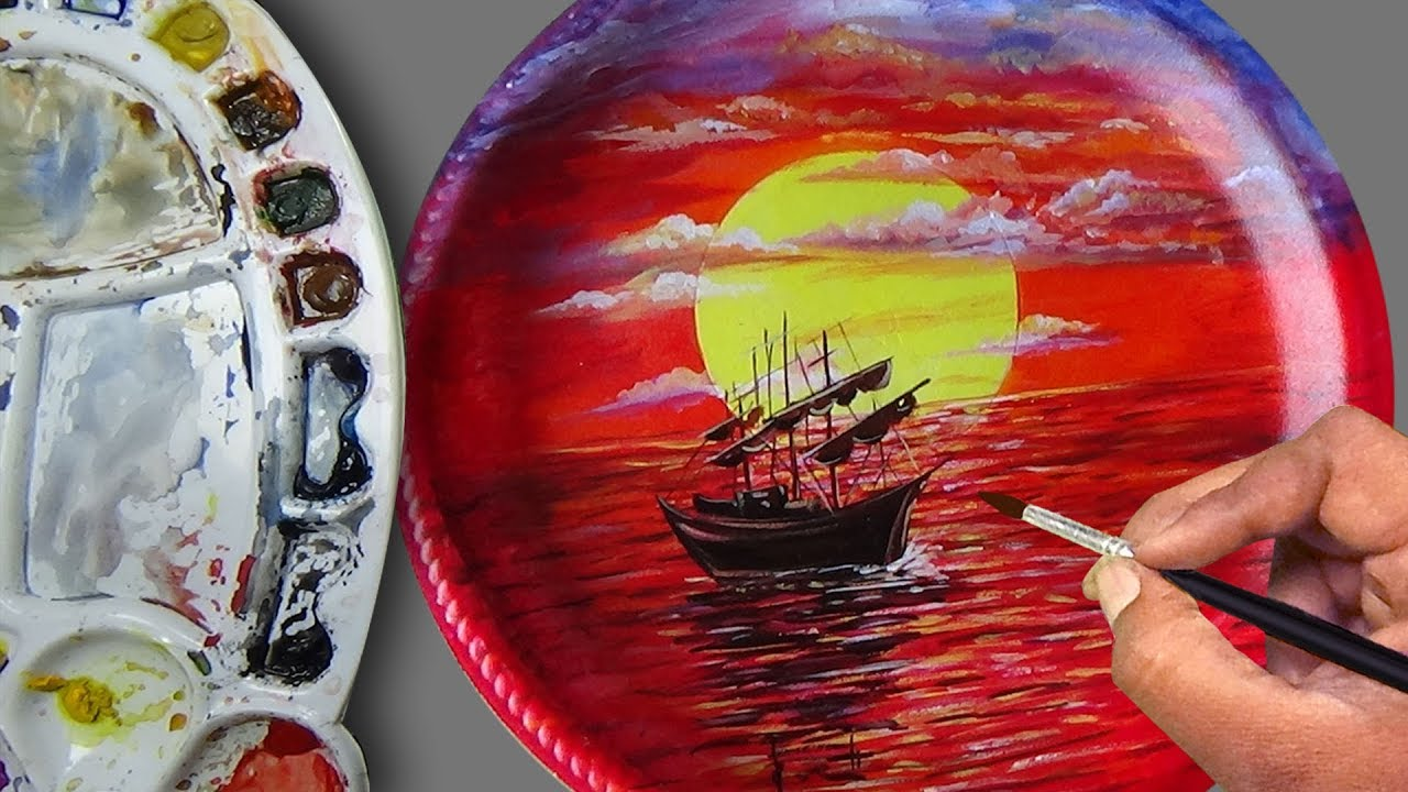 Painting A Sunset Scene On A Foam Plate Acrylic Painting Tutorial For Beginners Painting Ideas Youtube