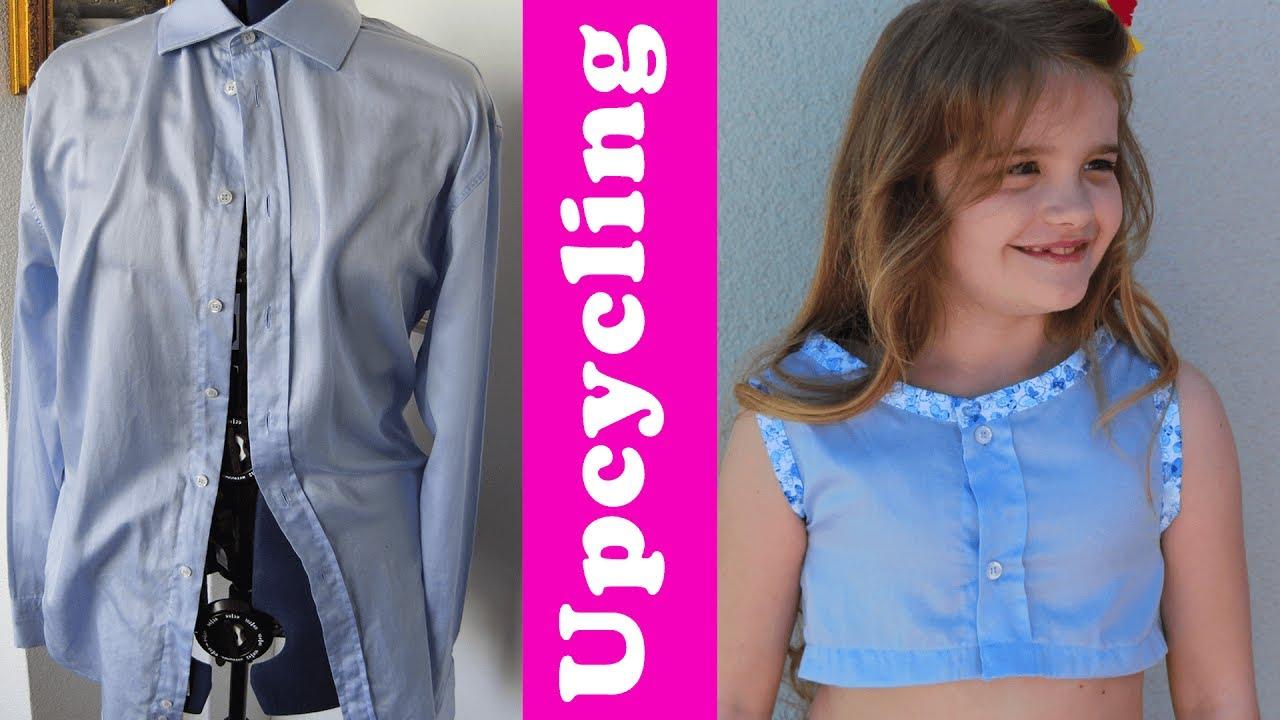 Kinder-Top aus altem Hemd nähen - upcycling - YouTube