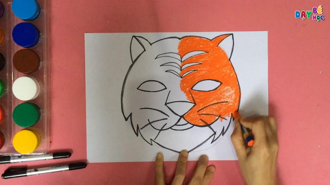 Làm đồ chơi trung thu | Cách vẽ mặt nạ con vật con hổ cho bé 2 | Dạy bé học